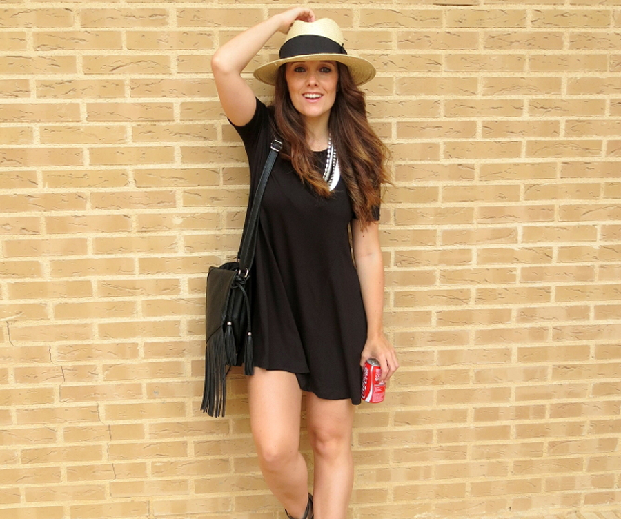 Look vestido negro y sombrero Zara Coverlooksbylorena