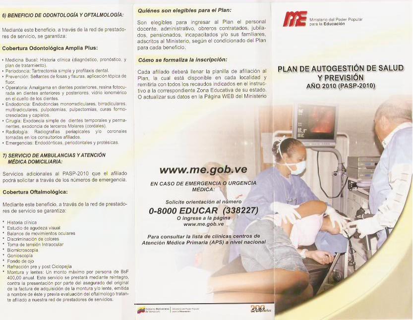 PLAN DE AUTOGESTIÓN DE SALUD Y PREVISIÓN DEL MPPE: abril 2011