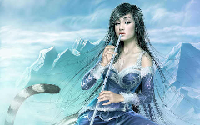 beautiful girl with flute free cg arts collection wallpaper by tang yuehui 1920x1200 pixel
