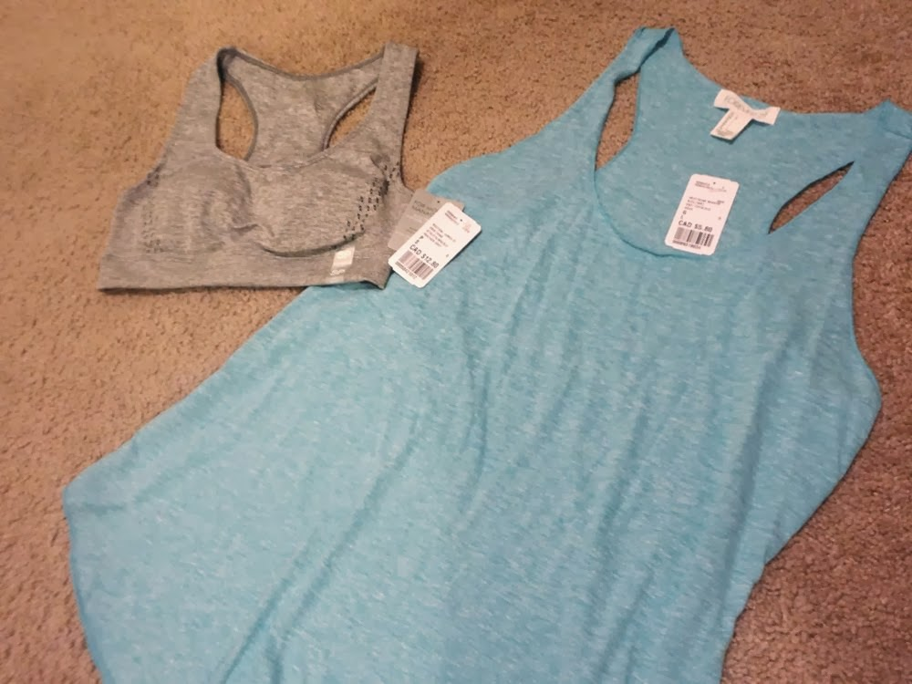 Teal tank top and grey sports bra from Forever21