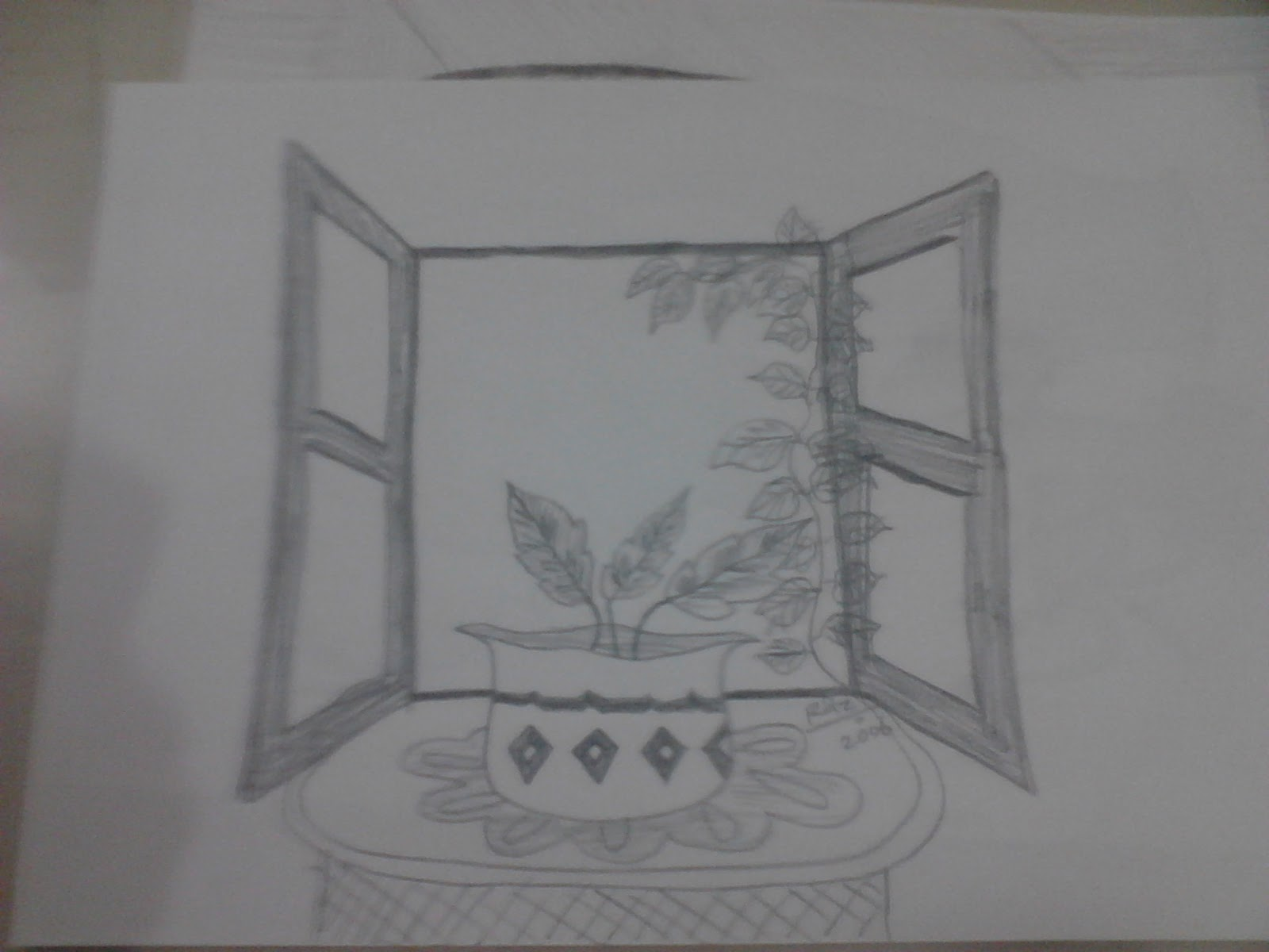 Razarts pencil sketches year 2006 by rizwana a mundewadi for Window design sketch