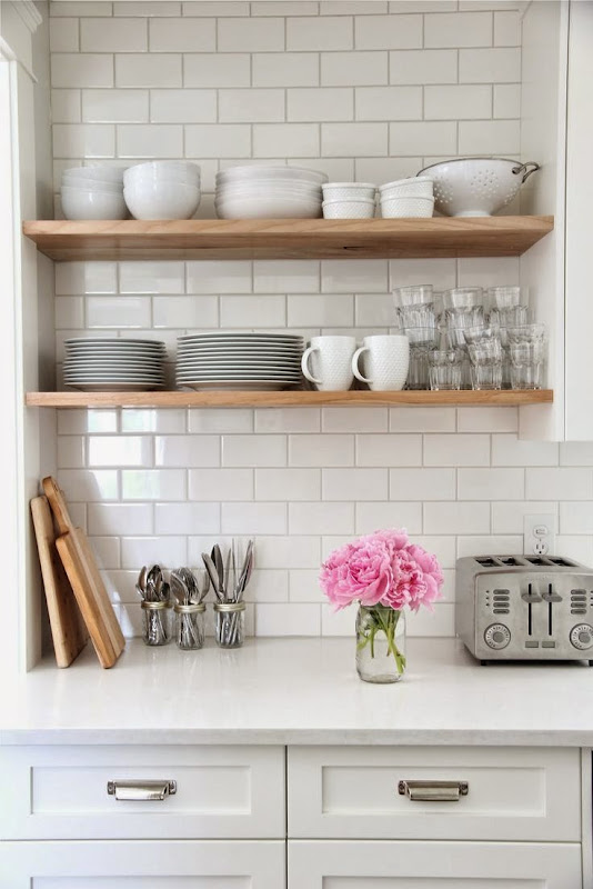 Rustic Wood Floating Shelves Kitchen
