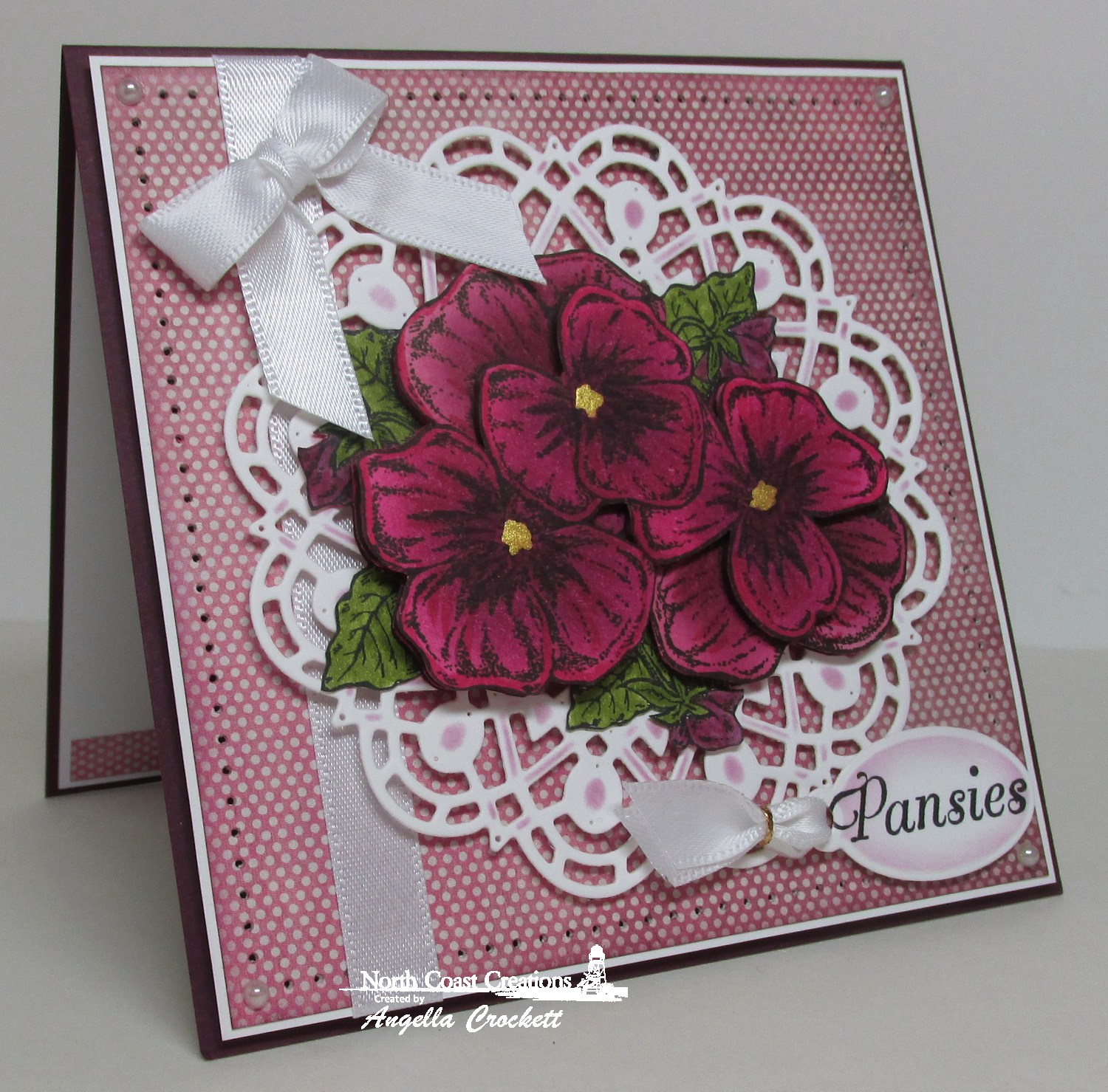 Stamps - North Coast Creatins Pansies, ODBD Custom Mini Tags Dies, ODBD Custom Doily Dies