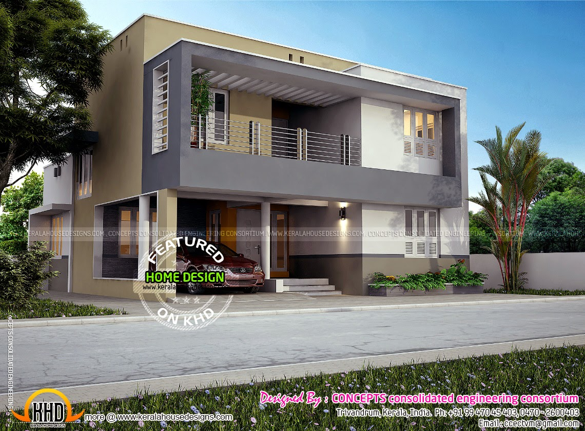 Flat Roof Contemporary House In 1853 Sq Feet Kerala Home Design And