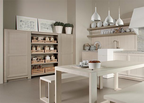 Marzua colecci n arkadia de dica una cocina de madera for Mesa y banco cocina