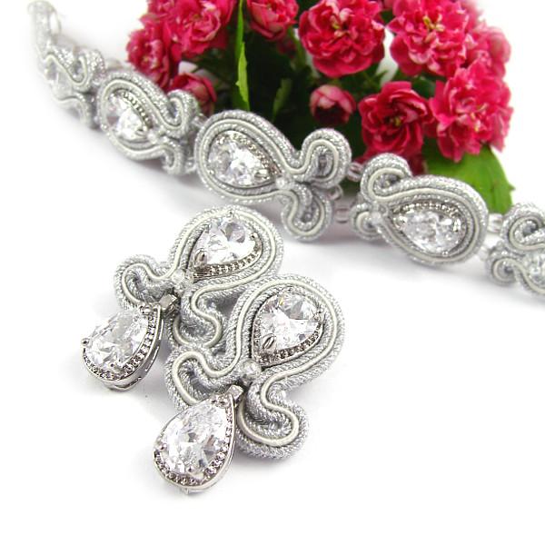 Komplet ślubny sutasz z kryształami Swarovski