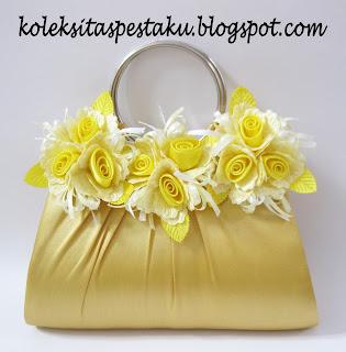 Clutch Bag Tas Pesta Bunga Mewah Gold
