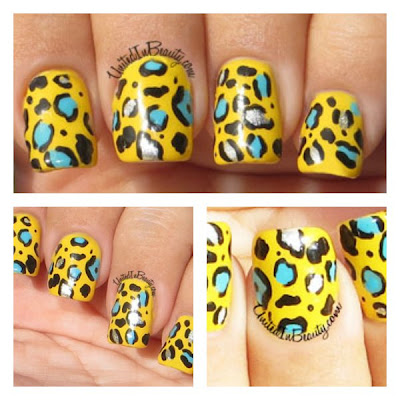 Bright Cheetah Print Nail Art