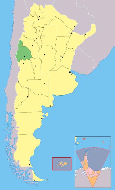 Mapa de localização da província de San Juan - Argentina