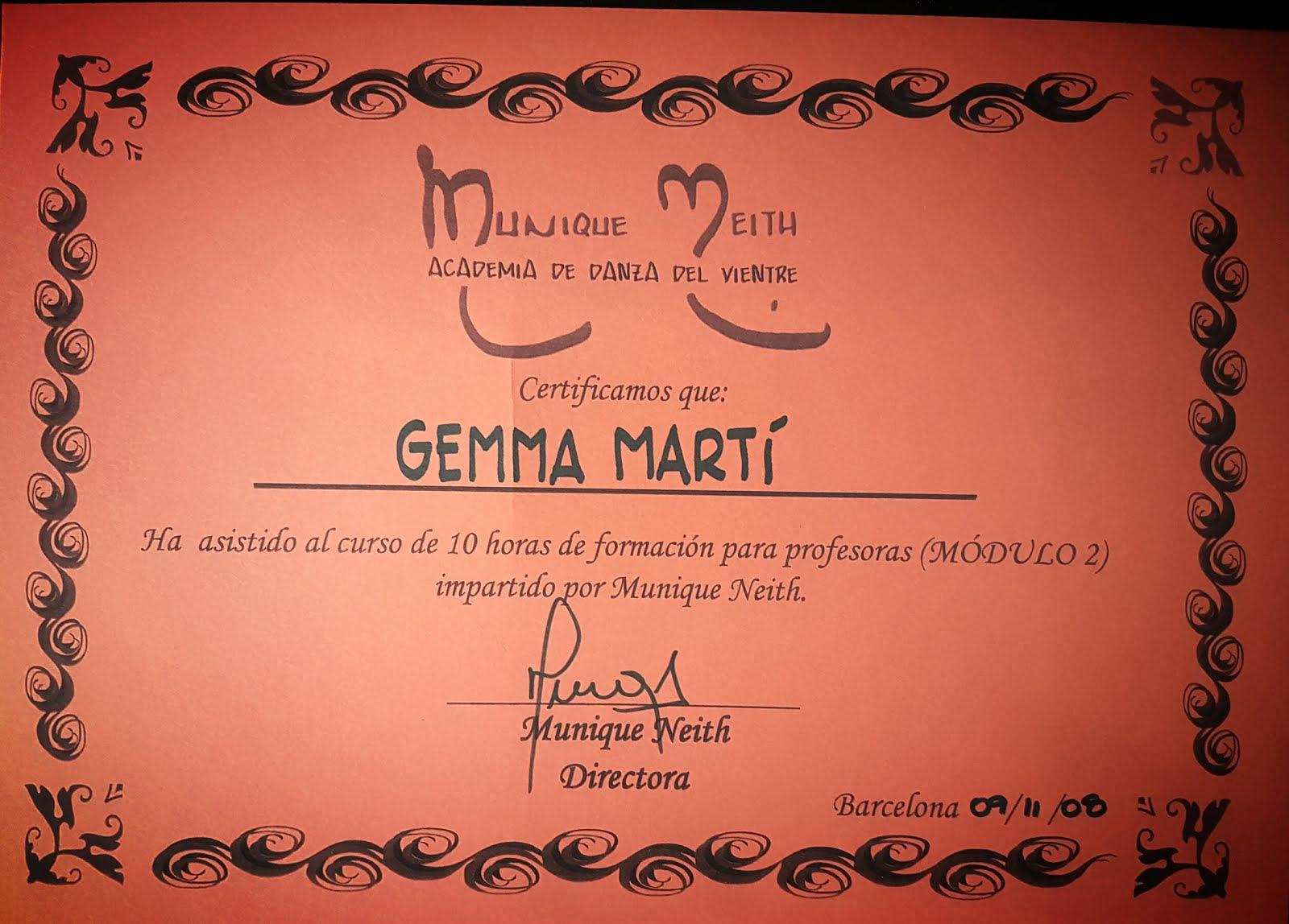 Certificados estudios danza oriental