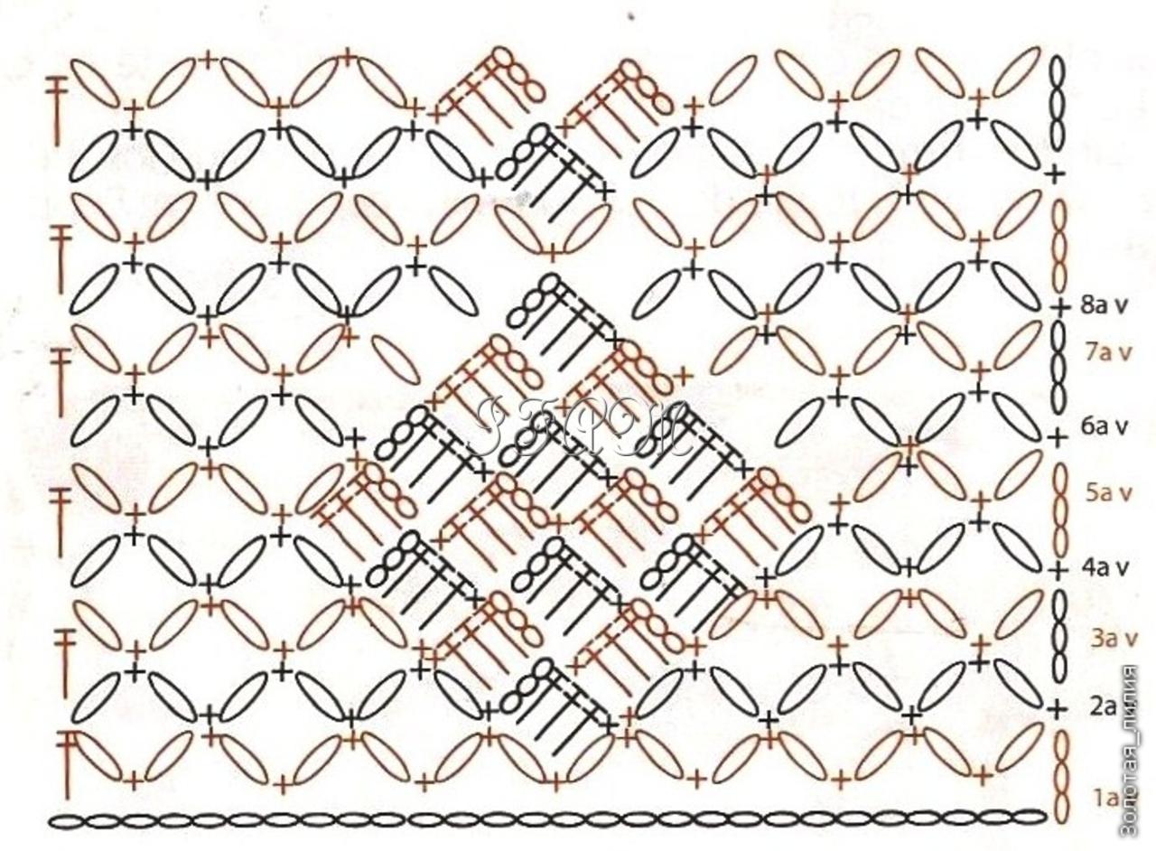 Сетка из диамантов схема