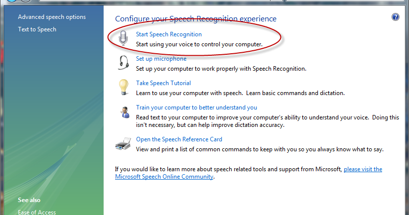 common commands in speech recognition