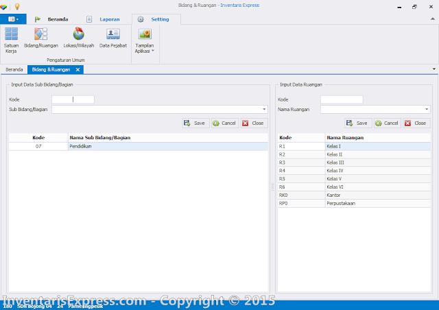 Input Data Bidang dan Ruang - Aplikasi Invetaris Express