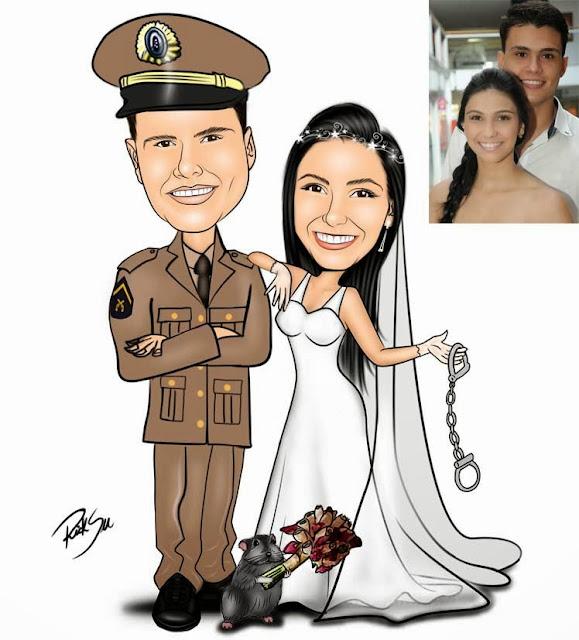 ricksu caricaturas com desenhos de noiva com ratinho