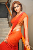 Sony Charista Glamorous in Saffron saree-thumbnail-3