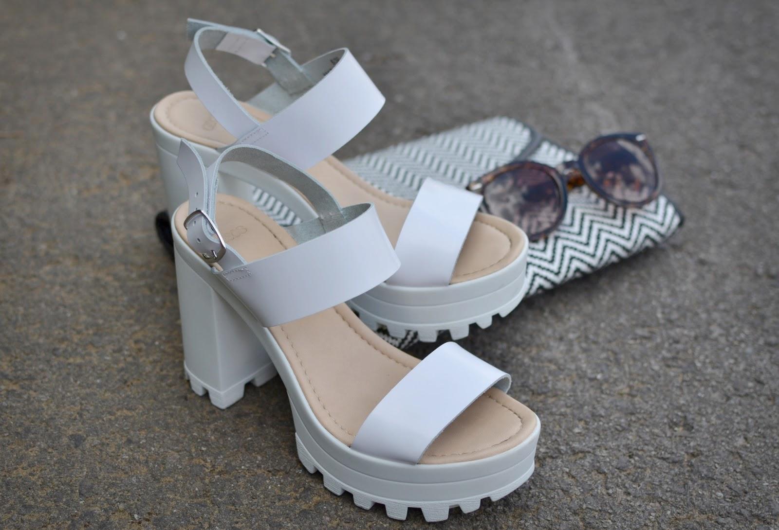 ASOS chunky white heels