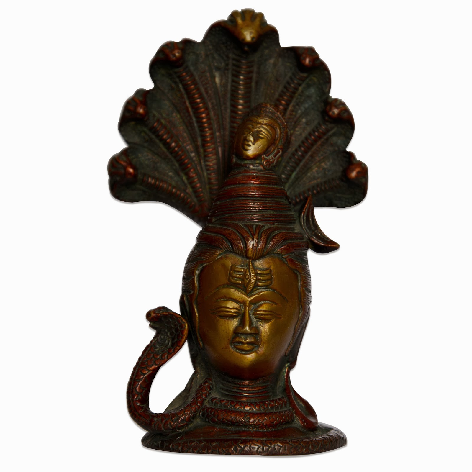 Shiva Head Snake Handmade Brass Statues