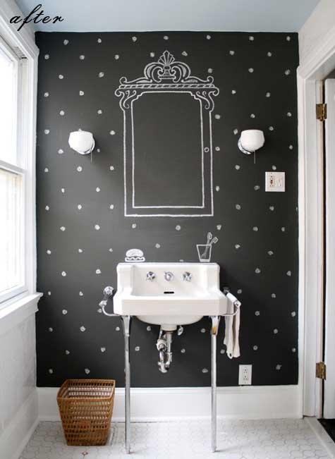 Baño con pared pintada de pizarra