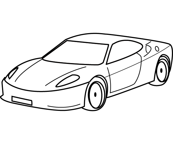 Black and White Car Coloring Page