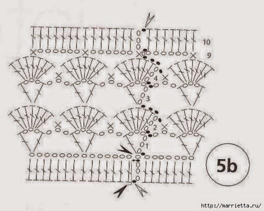 Chal triangular tejido al corchet con lana en tres colores - con diagramas y patrones