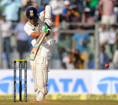 Sachin Tendulkar plays his trademark flick into the leg side, India v West Indies, 2nd Test, Mumbai, 1st day, November 14, 2013
