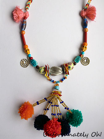 exotic pom pom necklace