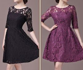 Clearance: Black/Purple Half Sleeve Lace Flare Dress