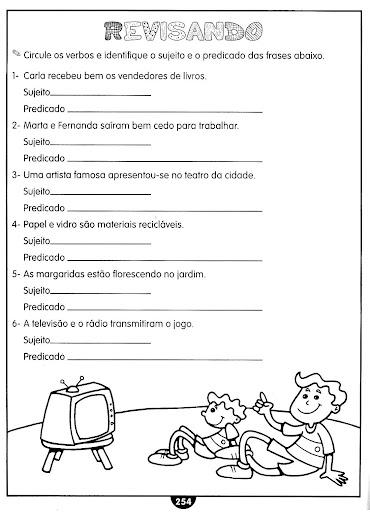 SUJEITO E PREDICADO EXERC  CIOS ATIVIDADES 3   4   5   ANOS PARA