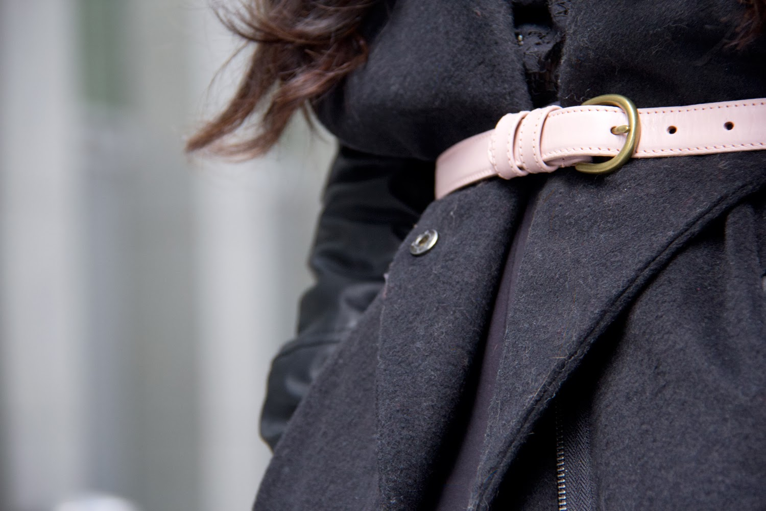 Black-Faux-Leather-Sleeve-Coat, American-Apparel-Pink-Belt