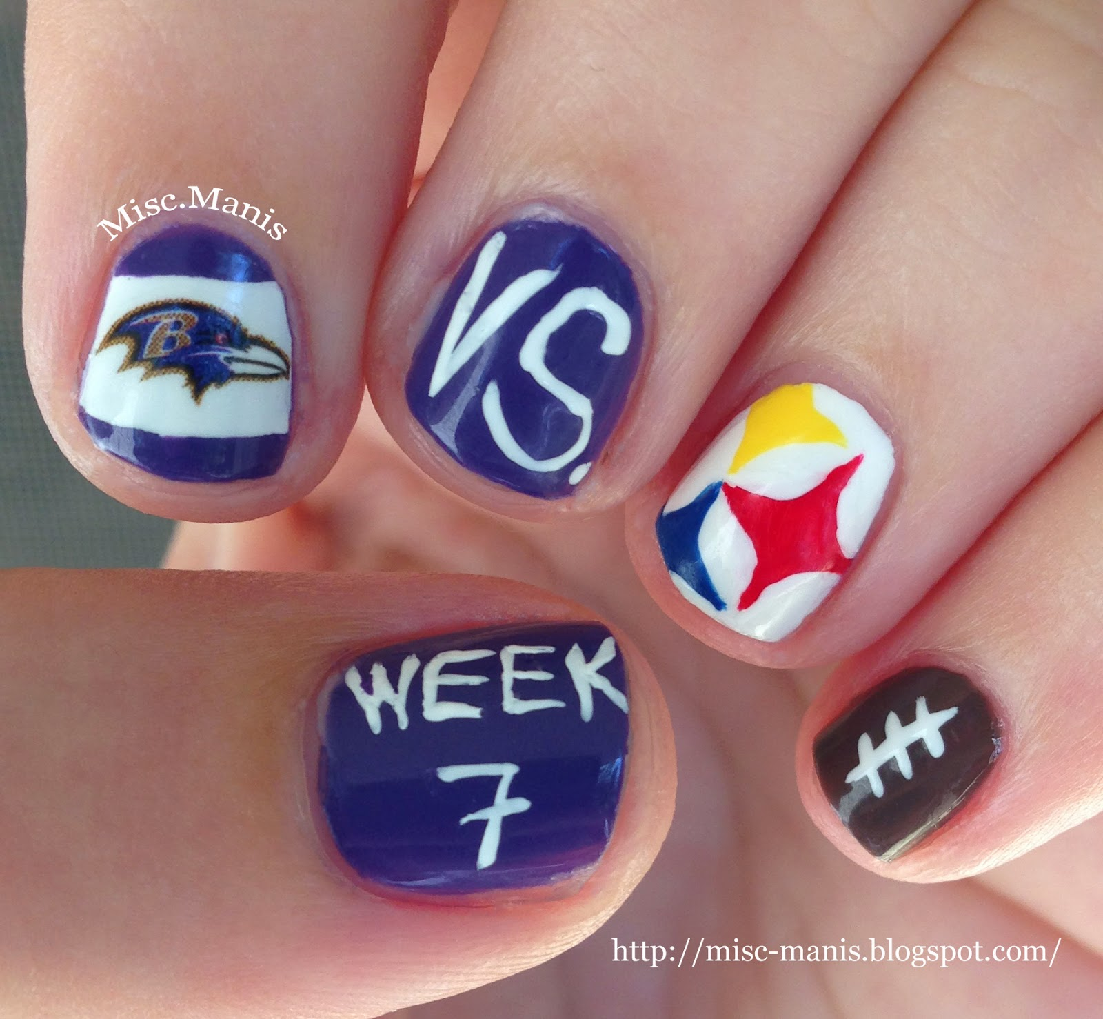 Miscellaneous Manicures Baltimore Ravens Nails Week 7 Vs Pittsburgh Steelers