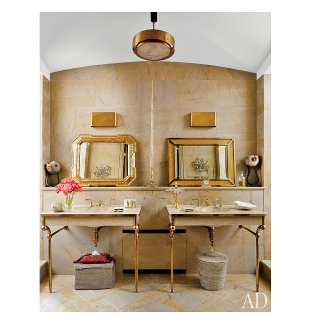 Natalie toy interior design trend lots of brass for Bathroom interior design trends