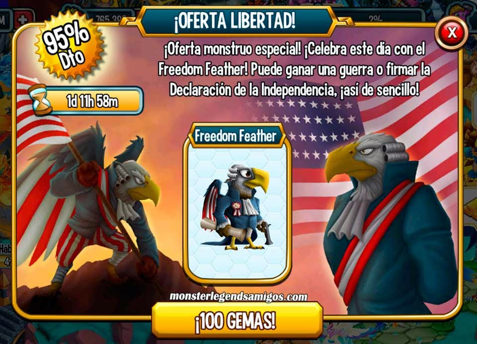 imagen de la oferta libertad de monster legends mobile