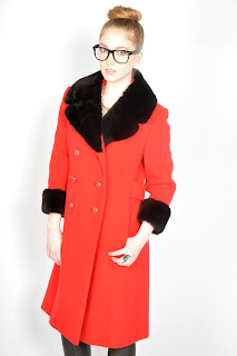 Vintage 1960's red wool princess coat with black beaver fur collar.