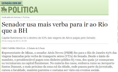 Senador usa mais verba para ir ao Rio que a BH