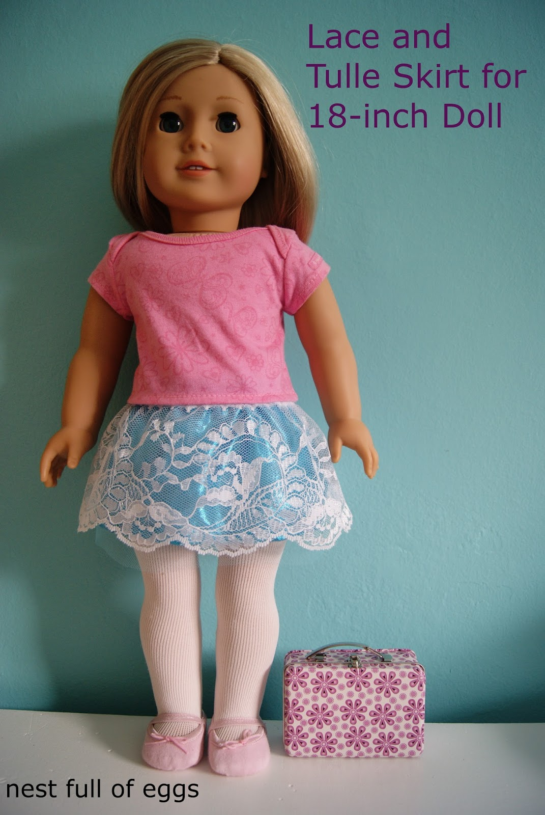 Lace and tulle skirt for 18-inch doll by nest full of eggs