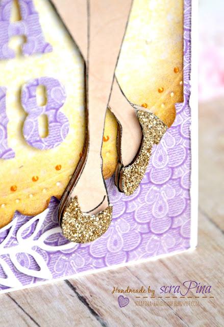 Rozkładana dziewczęca kartka na 18 urodziny 18stkę osiemnastkę dla dziewczyny z lalką stempel julie nutting ręcznie robiona scrapina handmade scrapbooking fioletowa żółta kwiaty papiery rapakivi galeria papieru