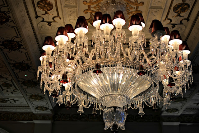 Cut glass chandelier at Crocker's Folly in London