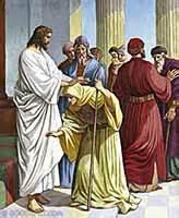 imagen jesus sana a una mujer jorobada en sabado