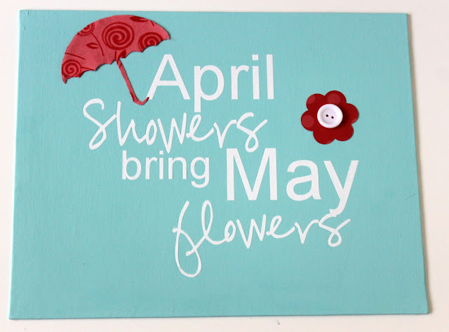 April Showers Stenciled Sign by Occasionally Crafty for createcraftlove.com #stencil #painting #spring #crafts