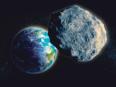 Lakaran asteroid yang bakal merentasi bumi.