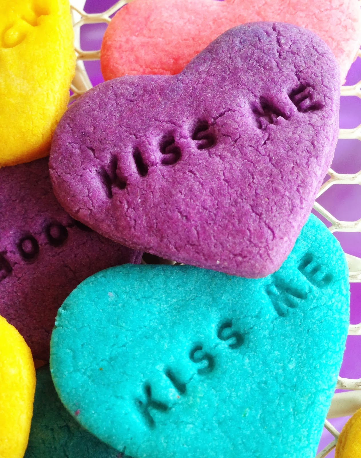 Conversation Heart Cookies - Purple Chocolat Home