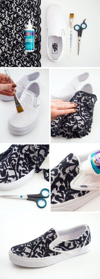 DIY LACE SLIP ON SNEAKERS
