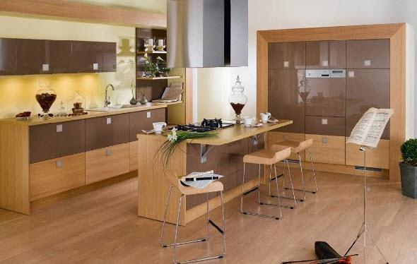 Dise o de moderna isla de madera - Cocinas de madera modernas ...