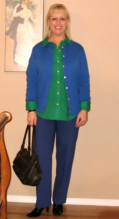 royal blue cardigan with green