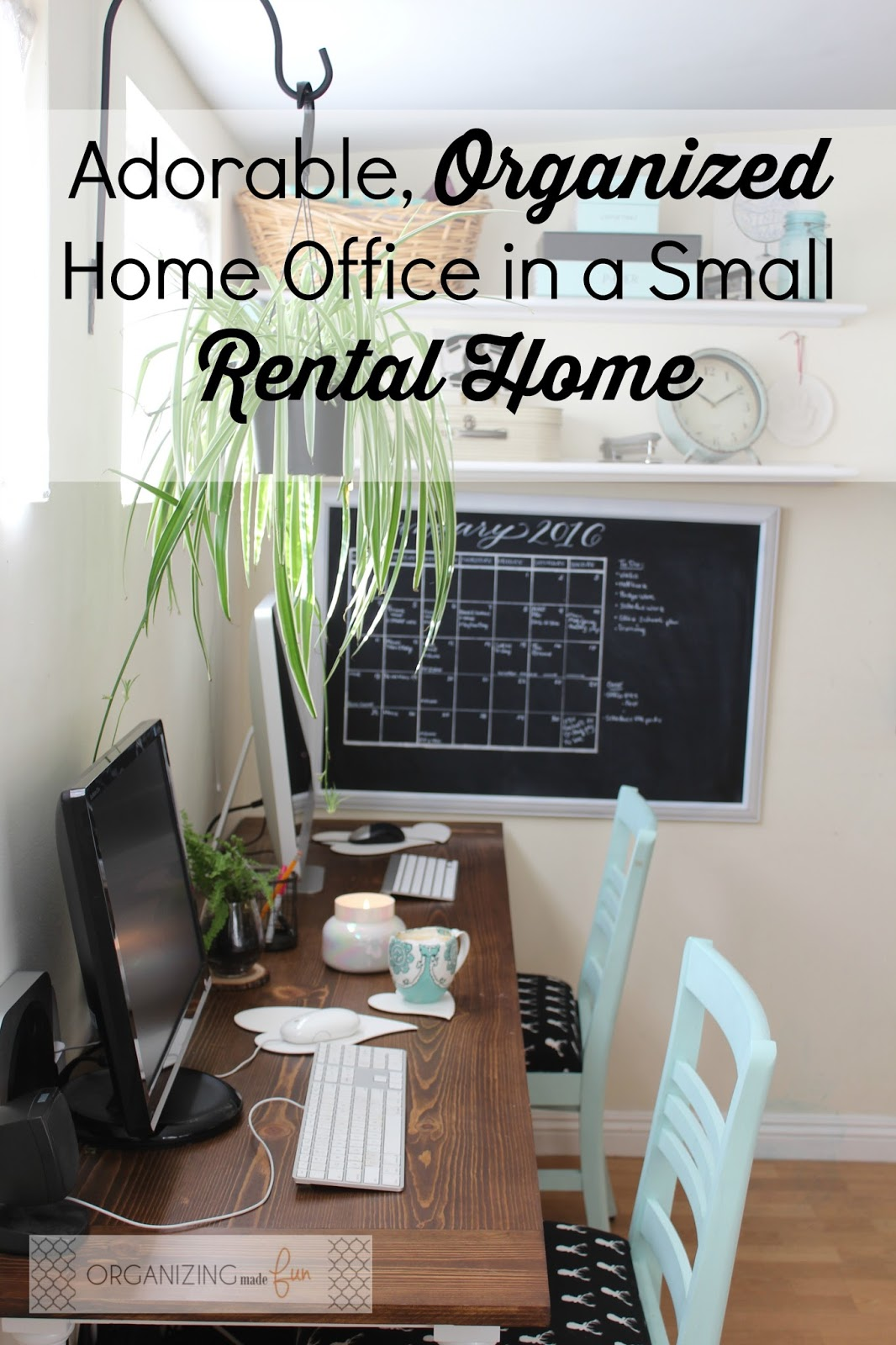 organized home office. Adorable, Organized Home Office In A Small Rental Home:: OrganizingMadeFun.com T