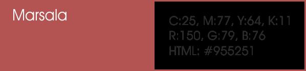 Marsala y sus códigos cmyk, rgb, html