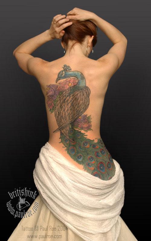 Tatto peacock tattoo designs for Peacock back tattoo