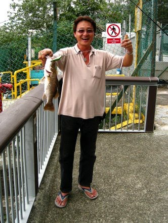 Luring for Barramundi also know as Kim Bak Lor 金目鲈 or Siakap weighing 1kg plus Caught by Roland At Woodland Jetty