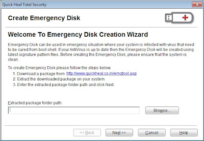 Quick Heal Emergency Disk Package wizard