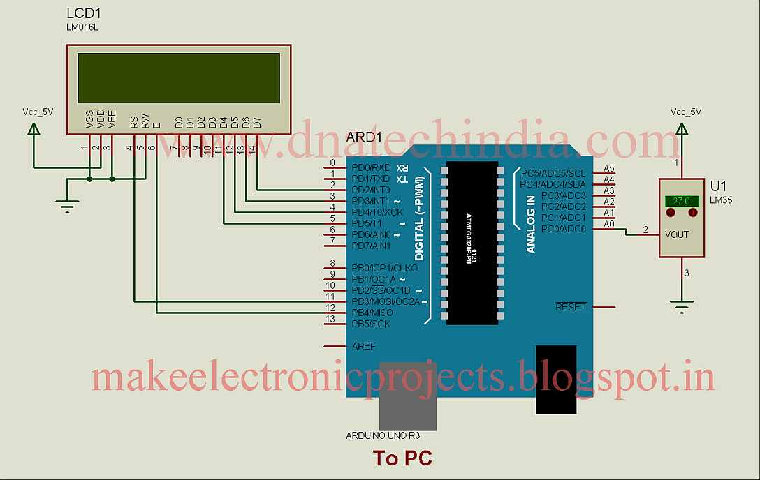 circuito termometro lcd16x2 lm35 arduino progetti
